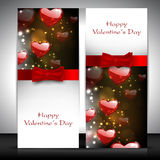 Valentines Day greeting card with hearts. And red ribbon. EPS 10. Love background Stock Images