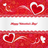 Valentines day greeting card with hearts Royalty Free Stock Photos