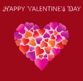 Valentine's day. Valentines day greeting card, hearts in heart and greeting inscription - Happy Valentine`s Day. Background with heart. Wallpaper, flyers Stock Photo