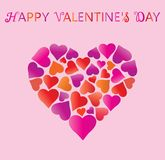 Valentine's day. Valentines day greeting card, hearts in heart and greeting inscription - Happy Valentine`s Day. Background with heart. Wallpaper, flyers Royalty Free Stock Photos