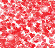 Valentines day greeting card with hearts and lacy ribbon Stock Images