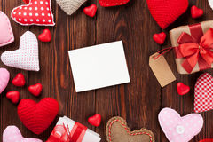 Valentines day greeting card and hearts Stock Photo