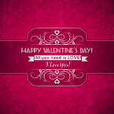 Valentines day greeting card  with  hearts and wis Royalty Free Stock Photography