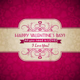 Valentines day greeting card  with  hearts and wis Royalty Free Stock Photo