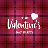 Valentines day greeting card, invitation. Tartan checkered plaid and paper heart. Vector illustration background. Web Stock Image