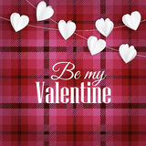 Valentines day greeting card, invitation. Tartan checkered plaid with string of paper hearts. Party decoration, web Stock Images