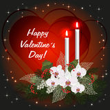 Valentines day greeting card with love hearts, decorations and burning candles. vector illustration