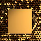 Valentines Day Greeting card with many golden shiny hearts. stock illustration