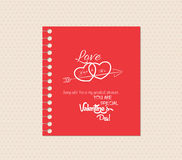 Valentines day greeting card with note Royalty Free Stock Image