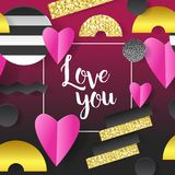 Valentines Day Greeting Card with Paper Cut Out Hearts and Abstract Gold Elements. Love Invitation. Vector illustration Stock Images
