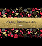 Valentines day greeting card pattern gold icon Royalty Free Stock Photography