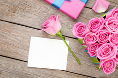 Valentines day greeting card or photo frame and gift box full of Stock Photo