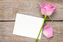 Valentines day greeting card or photo frame and pink rose Stock Photos