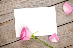 Valentines day greeting card or photo frame and pink rose Royalty Free Stock Image
