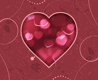 Valentines Day greeting card with red blurry hearts and floral pattern. Royalty Free Stock Photo