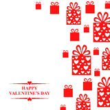 Valentines day greeting card with red gifts Stock Photo
