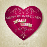 Valentines day greeting card with red heart. Flower and wishes text Stock Images