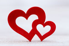 Valentines day greeting card. Red heart on the gray background. Stock Images