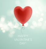 Valentines day greeting card with red heart shape balloon. Vector illustration Royalty Free Stock Images