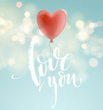 Valentines day greeting card with red heart shape balloon. Vector illustration Stock Image