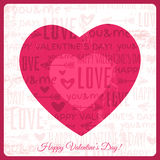 Valentines day greeting card with red heart and wi Stock Photos