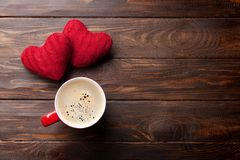 Valentines day greeting card with red hearts and coffee Stock Photo