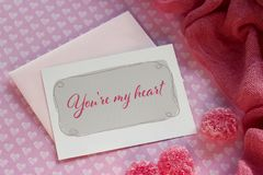 Valentines day greeting card with red marmalade lettering. Valentines day greeting card with red marmalade lettering Stock Images