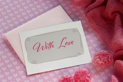 Valentines day greeting card with red marmalade lettering. Valentines day greeting card with red marmalade lettering Royalty Free Stock Image