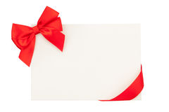 Valentines day greeting card with red ribbon Stock Photos