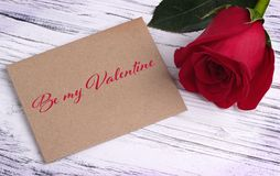 Valentines day greeting card with red rose and lettering Be My Valentine. stock photos