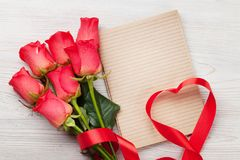 Valentines day greeting card with red roses Stock Photo