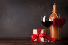 Valentines day greeting card with red wine Stock Photo