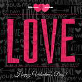 Valentines day greeting card with  red  wishes tex Royalty Free Stock Photography