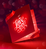 Valentines Day greeting card with ribbon vector illustration