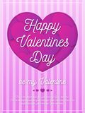 Valentines day greeting card with romantic sign on background with hearts pink color Royalty Free Stock Photos