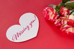 Valentines day greeting card with roses hearts and lettering. royalty free stock photography