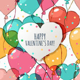 Valentines day greeting card with seamless pattern.  Stock Photos