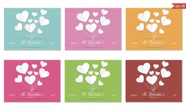 Valentines day greeting card set, paper hearts, vector. St. Valentines, February 14th greeting card set with different colorful backgrounds, paper heart balloons royalty free illustration