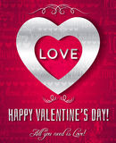 Valentines day greeting card with silver text,  ve Stock Images