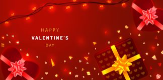 Valentines Day greeting card with sparkling confetti, heart shaped gift boxes and garlands. Promotion banner on red background. stock illustration
