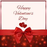Valentines Day greeting card template with red bow Royalty Free Stock Photography