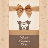 Valentines Day greeting card template with two Royalty Free Stock Images