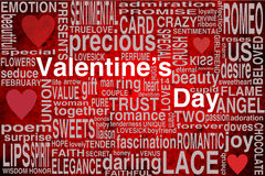 Valentines day. Greeting card with terms and hearts on a red bakcground stock illustration