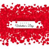 Valentines day greeting card with text - Happy Valentines day. Background with a lot of hearts. Vector illustration.  Royalty Free Stock Photo