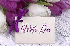 Valentines day greeting card, tulips white purple ribbon, white wooden background. Valentines day greeting card, tulips white purple ribbon, white wooden Stock Photo