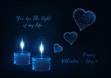 Valentines day greeting card with two burning candles and flying hearts and text royalty free illustration
