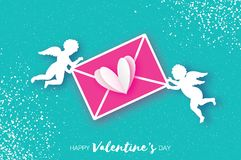 Valentines Day Greeting Card with upids - flying angels. Love mail, heart and envelope in paper cut style. Origami. Cherubs. Romantic Holidays on blue Stock Photography