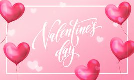 Valentines day greeting card of valentine red heart balloon on pink light shine background. Vector Happy Valentines day text lette. Ring design template of Royalty Free Stock Photo