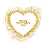 Valentines day greeting card. Vector gold sparkles heart on whit Royalty Free Stock Image
