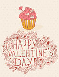 Valentines day greeting card in vintage hipster design with cake. I love you retro note. Hand drawn style. Stock Photo